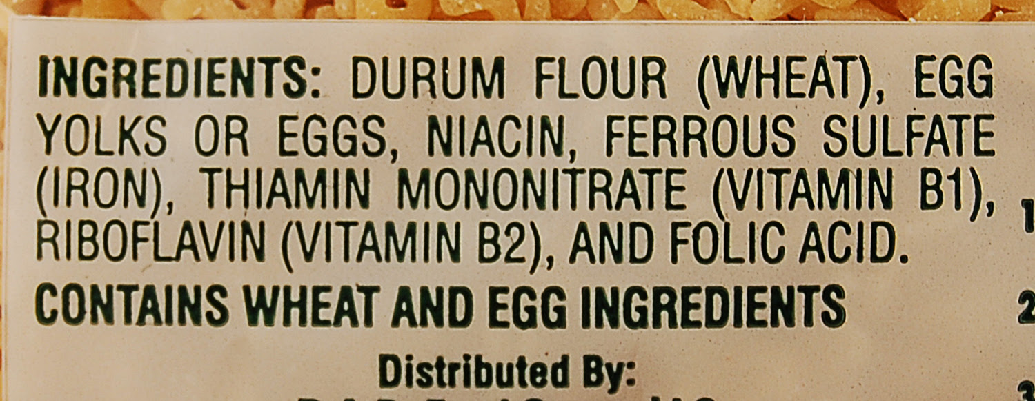 egg noodles ingredients