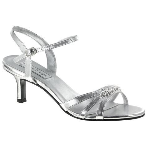 Silver Low Heel Dress Shoes   Diane Silver Strappy Low