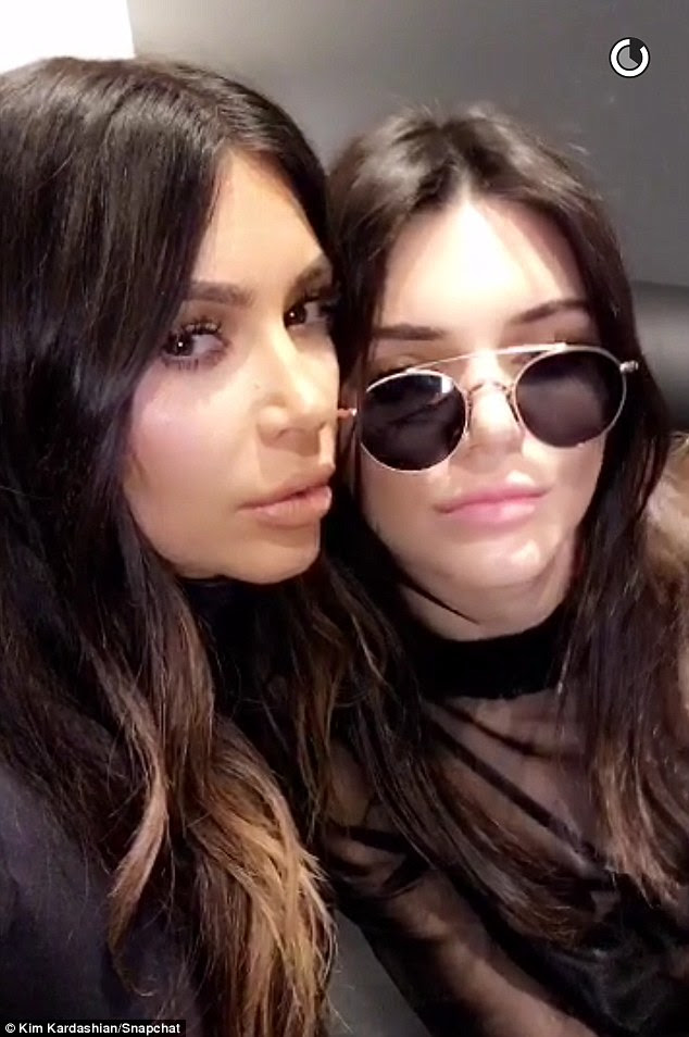 Dynamic duo: Before the show KIm and Kendall took some selfies