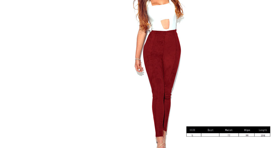 Womens Ultra Soft Slimming Stretchy Suede Leggings Pants (Size L)