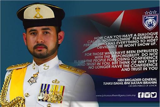 Johor Crown Prince Tunku Ismail Ibrahim Remark on PM Najib Chickening from Nothing2Hide
