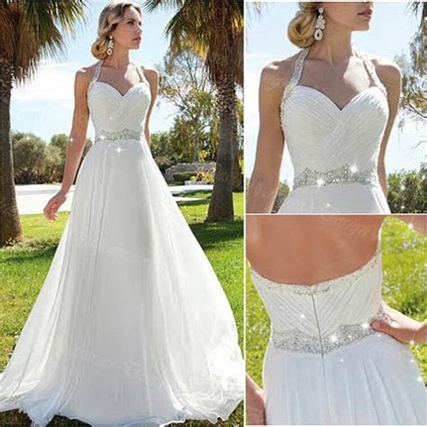 Elegant Beach Wedding Dresses Halter Chiffon Beaded