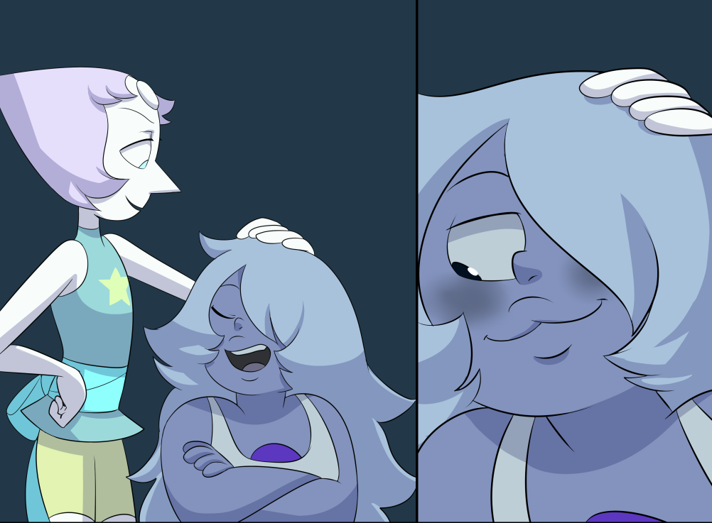 I feel like 80% of Amethyst's issues would be resolved if she just admitted she's a touch-starved baby and get people to hug her and pet her head more. Also does Pearl just like glow in the dark?? I eyedrop the colors for night scenes and Pearl is like way brighter than Amethyst or Garnet. Preview panels from the next page of the BIG Pearlmethyst comic, since I've now done some one-shots as well. I was sick home today so in my agony I was still able to do a bit of art. Aren't you lucky?? Stay tuned.