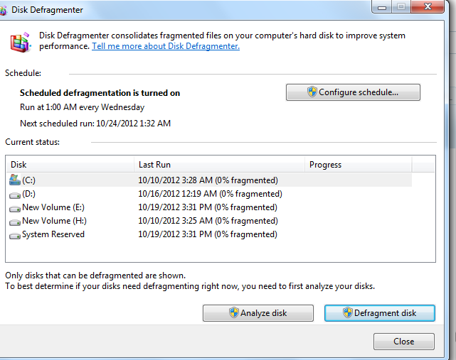 disk defragmenter window