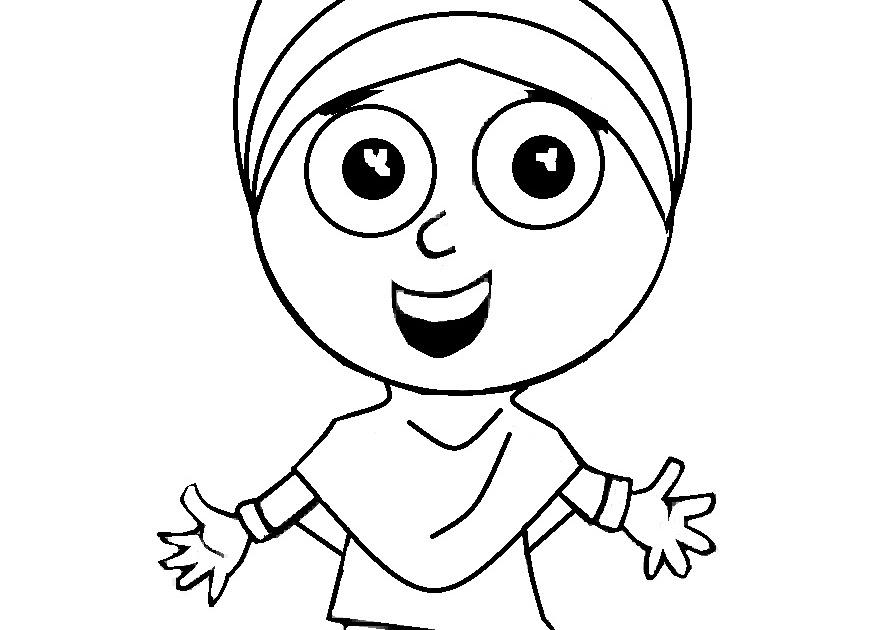 mewarnai gambar anak laki laki dan perempuan muslim