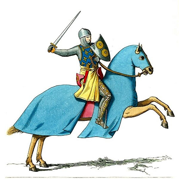 File:Armored Knight Mounted on Cloaked Horse.JPG
