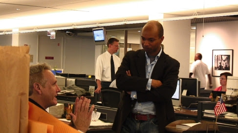 David Dunkley Gyimah teaching videojournalism a the Chicago Sun Times