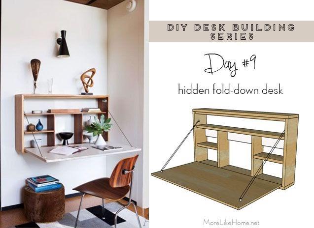 more like home diy desk series 9 fold down wall desk. Black Bedroom Furniture Sets. Home Design Ideas