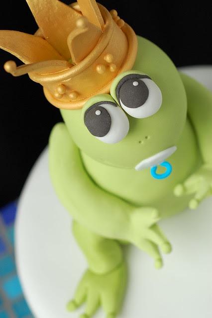 Cade's Frog Prince Birthday cake - frog closeup