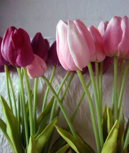 Real Touch Silk Flower Mini Pink Tulip Bouquet 15\u0026quot;