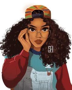 40 Most Popular Curly Hair Mixed Girl Cartoon Drawing Graffiti Lunatic