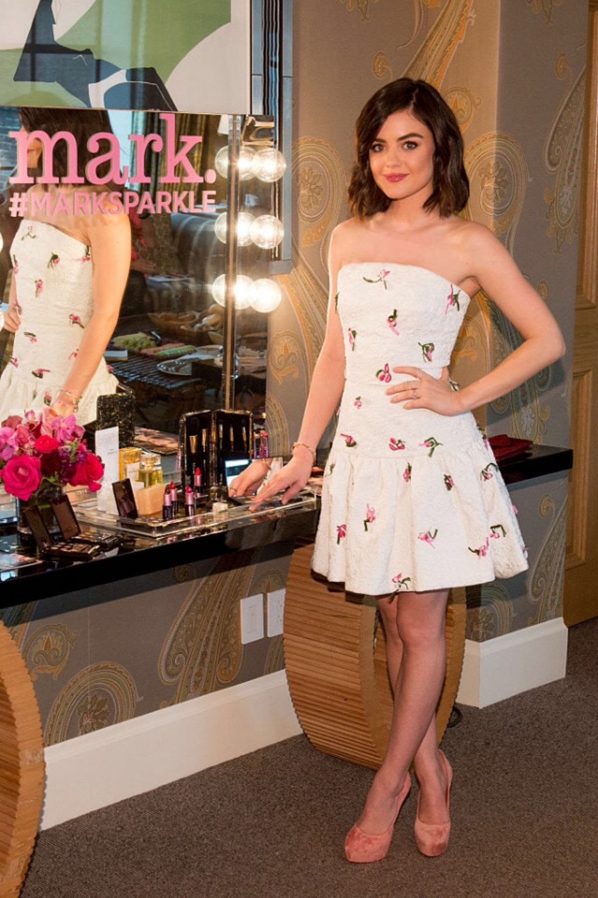 LUCY HALE at Mark. Holiday Collection Event at Crosby Hotel in New York 10/28/2015
