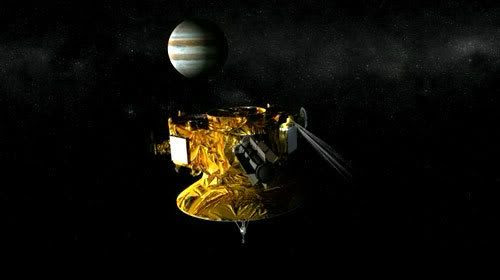 In this screenshot from an animated video, New Horizons fires a thruster to get into position to observe Jupiter.