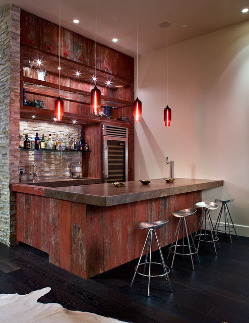 Bar next to media room - contemporary - media room - las vegas ...