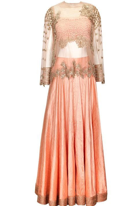 Peach lehenga with embellished cape available only at