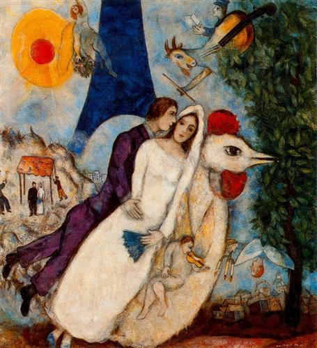 The betrothed and Eiffel Tower - Marc Chagall