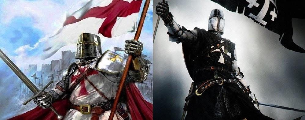 À esquerda um cavaleiro templário, à direita um hospitalário. Imagens: autores desconhecidos.