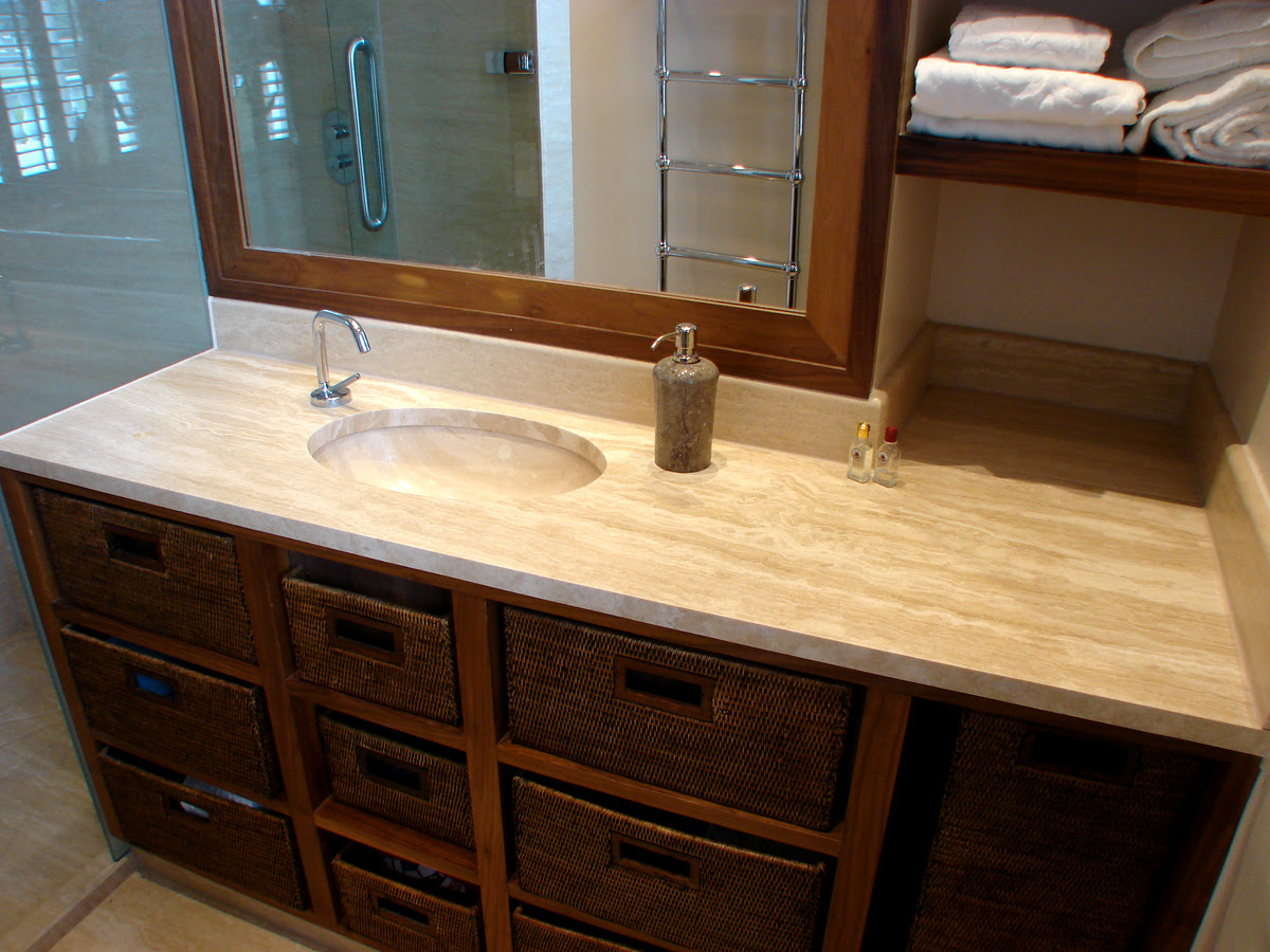 Angora Vein Cut Travertine Vanity Top With Undermounted Oval Wash