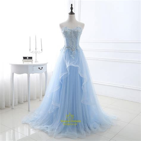 Light Blue Strapless Lace Applique Sequin Embellished