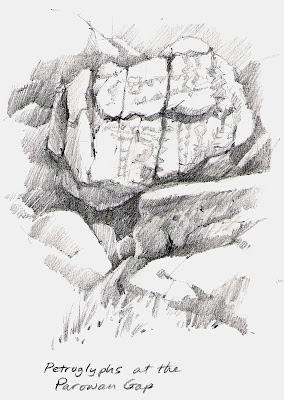 Parown Gap petroglyph drawings by Roland Lee