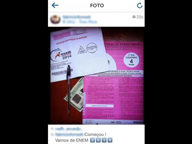 Candidato postou foto do caderno de provas, cartão de respostas, RG e caneta preta (Foto: Reprodução/Instagram)