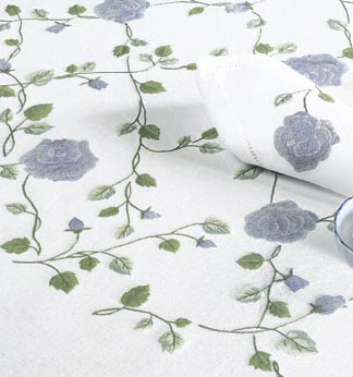 Blue Rose Hand Embroidered Table Linen - Tablecloth Napkin Placemat