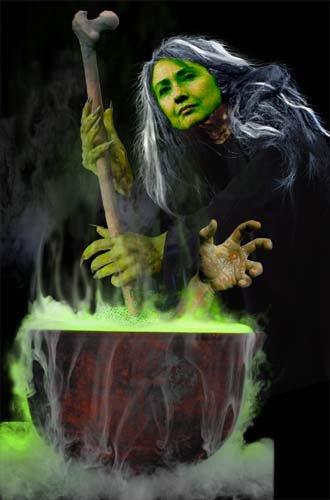 Halloween Hillary's strange brew - Bubba in a tub?