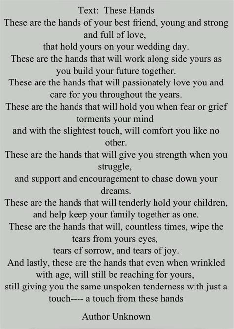 These hands poem   Wedding quotes   Pinterest   Hands and Poem