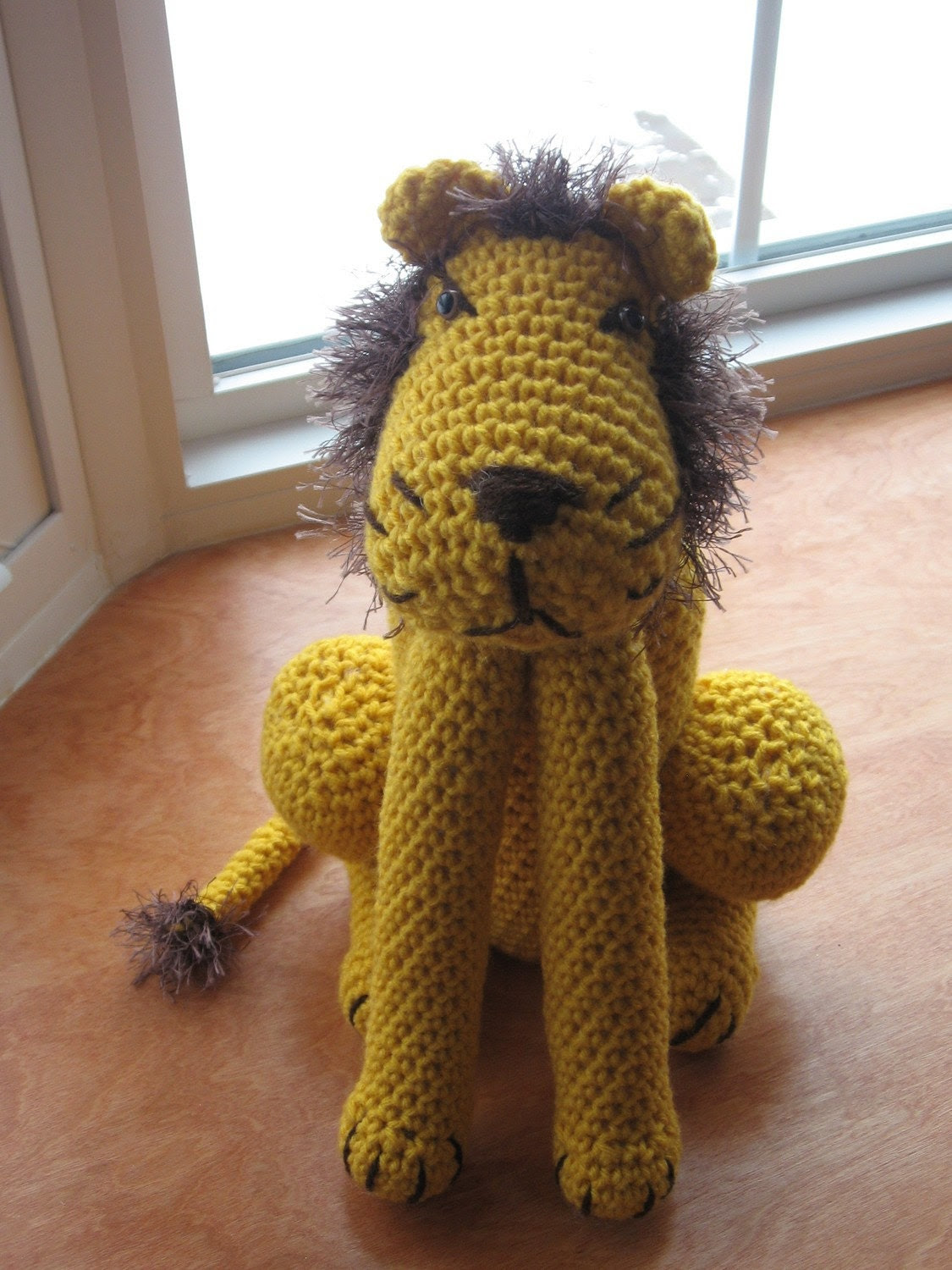 Crocheted Lion with Furry Mane