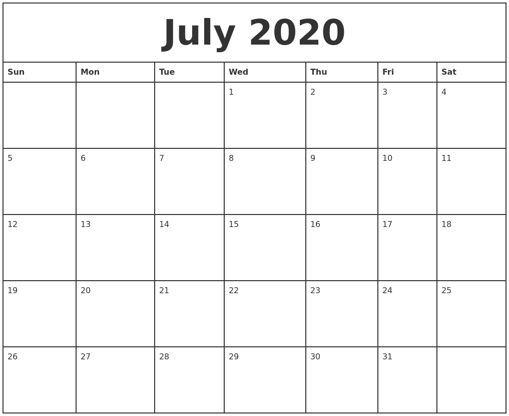 july 2020 printable monthly calendar