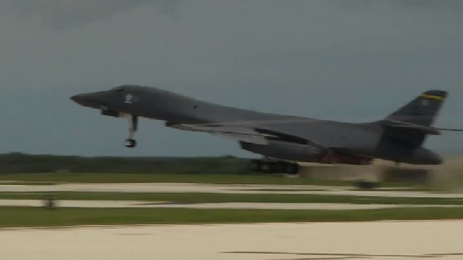 A B1 Bomber flies from the USAF base on Guam