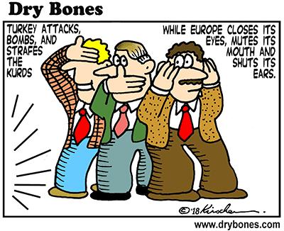 dry bones cartoon, Turkey, Kurds, Kurdistan, Syria, Europe, Europeans,