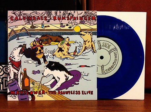 "Calvinball / Rumspringer / Mayflower / Dauntless Elite - 4 Way Split 7"" - Blue Vinyl (/500) by Tim PopKid"