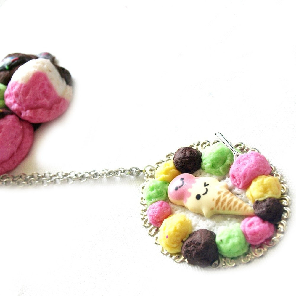Gimme a Scoop Ice Cream Cameo Necklace by Glamasaurus on Etsy