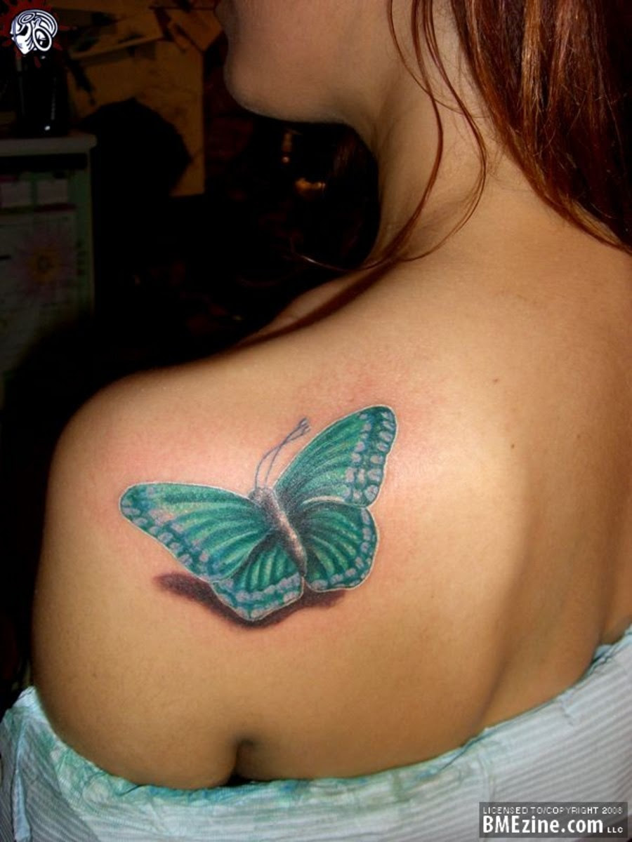 Amazing Green 3d Butterfly Tattoo On Women Back Shoulder Tattoomagz