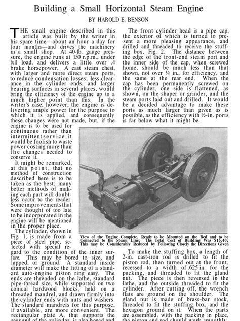 Popular Mechanics Plans-Small Horizontal Steam Engine