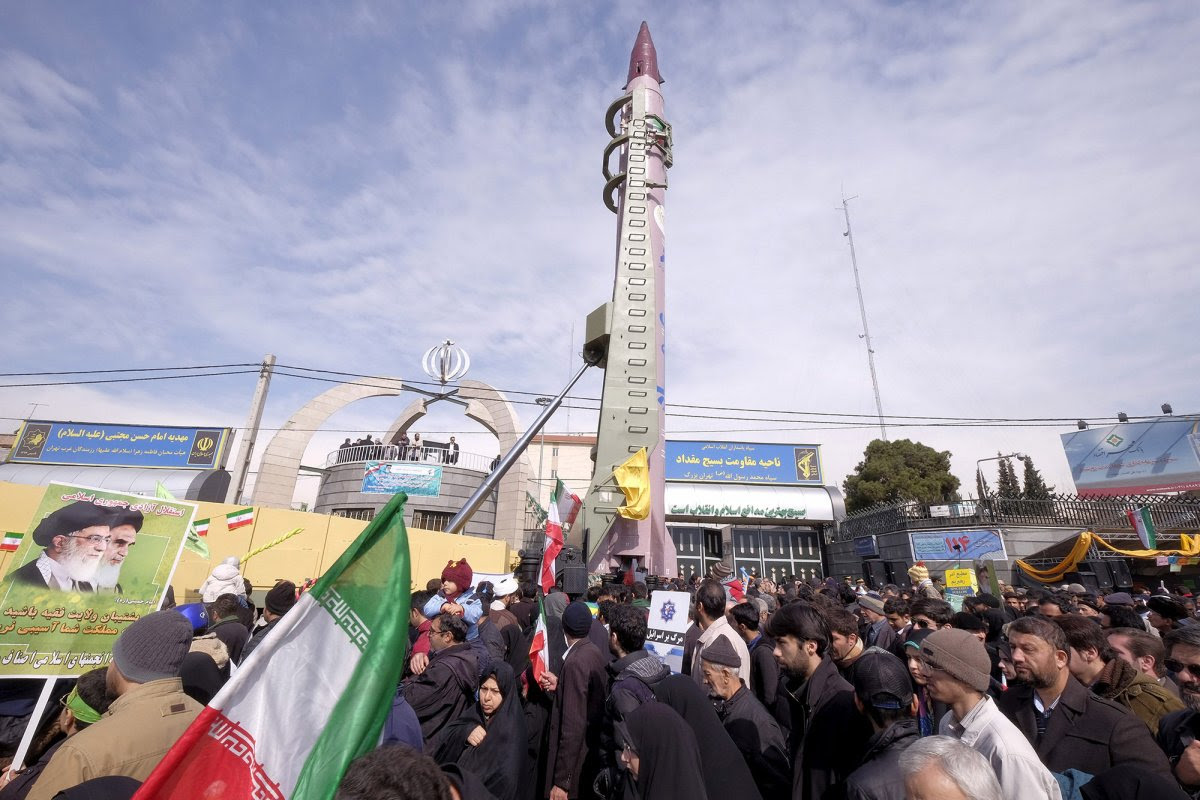 Iranian-made Emad missile is displayed during a ceremony marking the 37th anniversary of the Islamic Revolution, in Tehran.