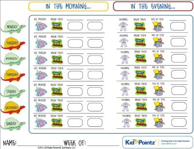 Charts for Getting Ready for School & Bedtime | Kid Pointz