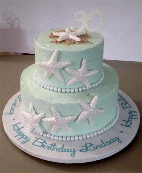 Two tier Sea Star & Beach Sand 30th Birthday Cake