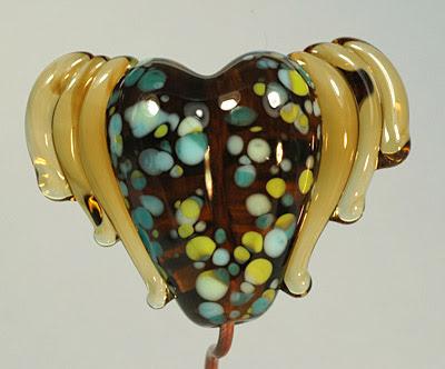 Winged Heart - BlueBetween Handmade Lampwork Glass Bead