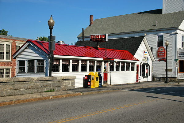 Exterior of the Red Arrow Diner at 63 Union Square in Milford, New Hampshire.