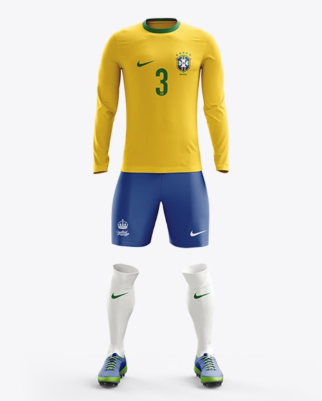 Download Free Soccer Kit with Long Sleeve Mockup / Front View (PSD ...