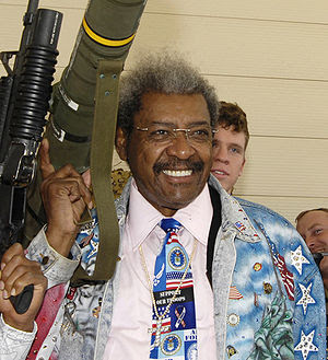 American boxing promoter Don King posing with ...