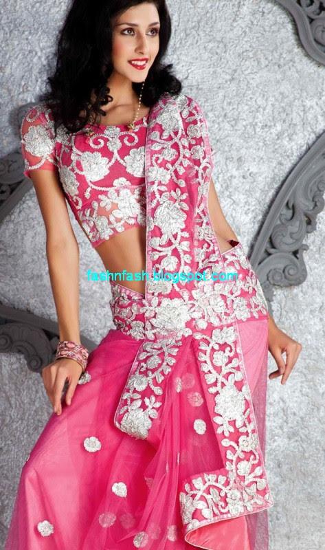Saree-Designs-Lehanga-Choli-Style-Embroidered-Bridal-Party-Wear-Sari-New-Fashion-Clothes-4