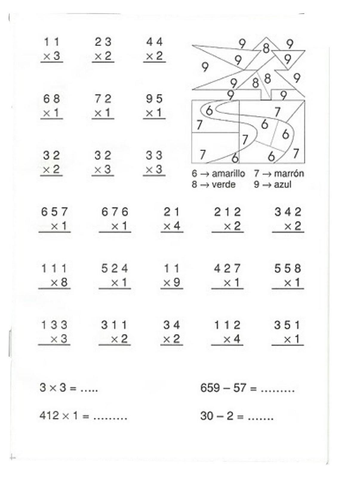 Fichas de primaria repasar las multiplicaciones for L practicas