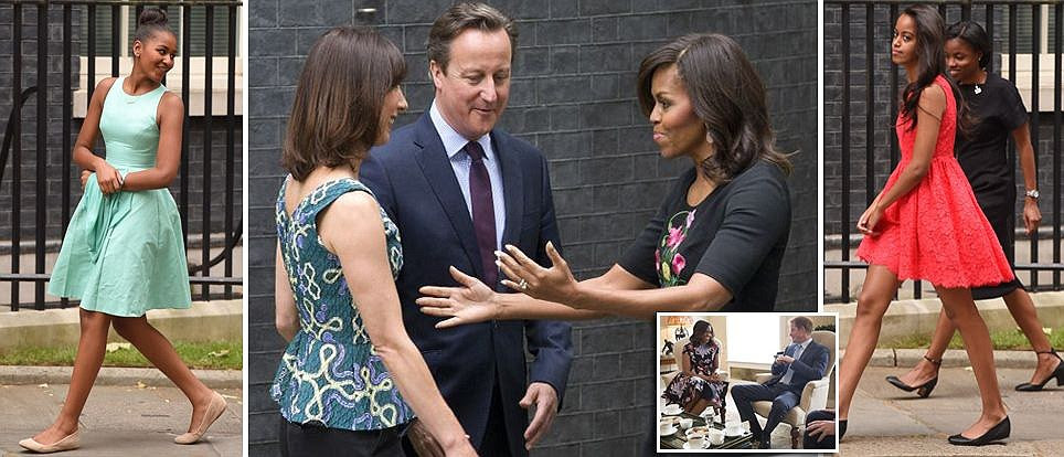 Michelle Obama takes daughters to meet David Cameron after tea with Prince Harry