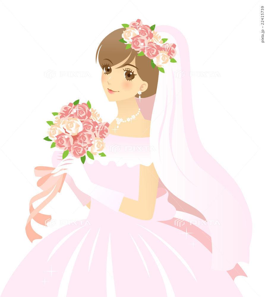 花嫁のイラスト ウエディングドレス 6月の花嫁 女性のイラスト素材