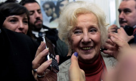 Estela Carlotto, president of Grandmothers of Plaza de Mayo, smiles after announcing the recovery of her grandson Guido.