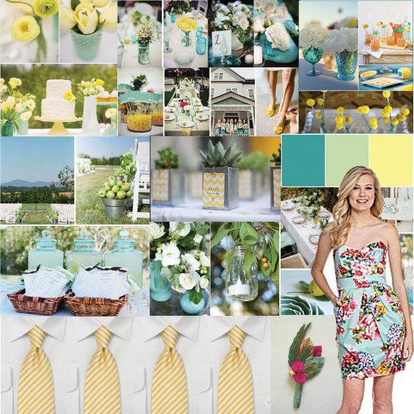 Is My Wedding TOOO Colorful wedding turquoise yellow mason jar country