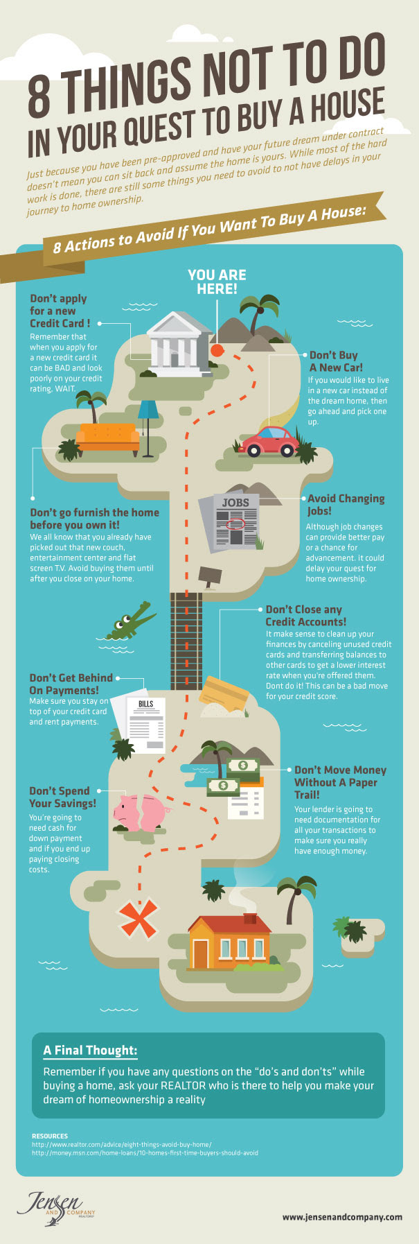 8 things not to do in your quest to buy a house infographic visualistan. Black Bedroom Furniture Sets. Home Design Ideas